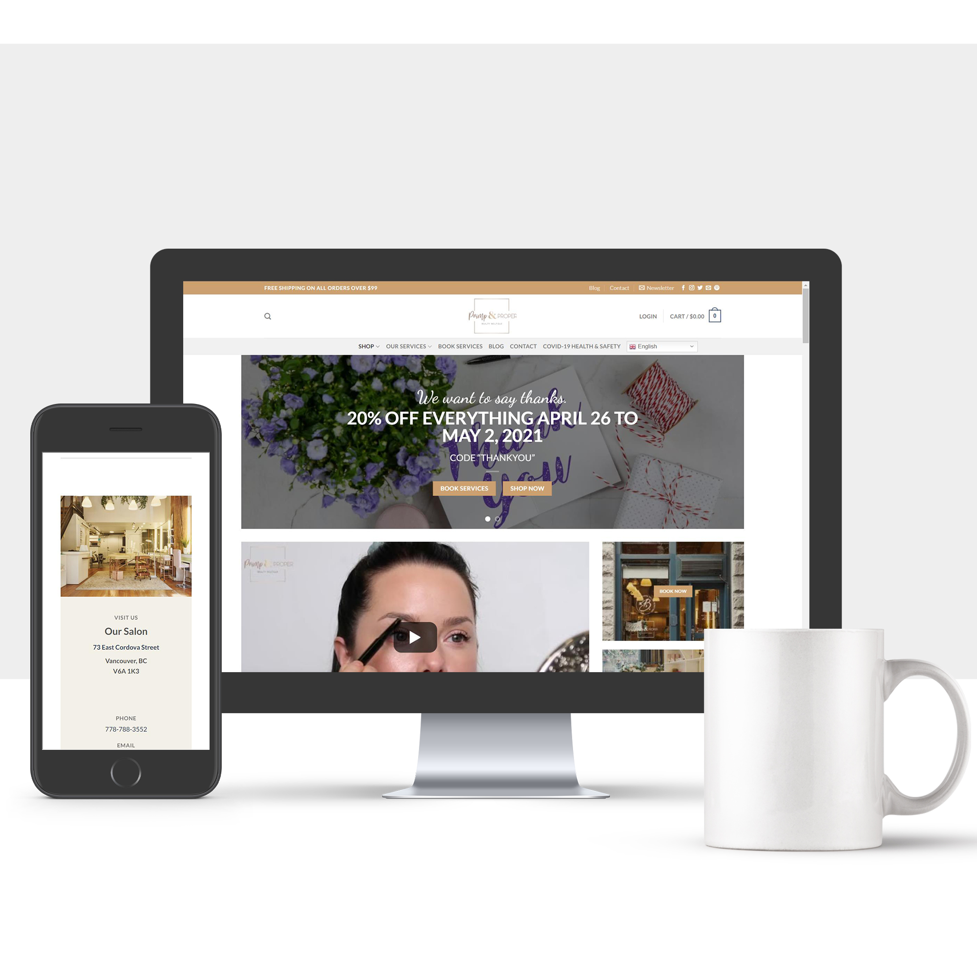 a mobile phone and laptop showing the website is mobile friendly